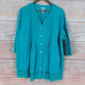 Catherines V-Neck Button Up Pleated Blouse Size OX